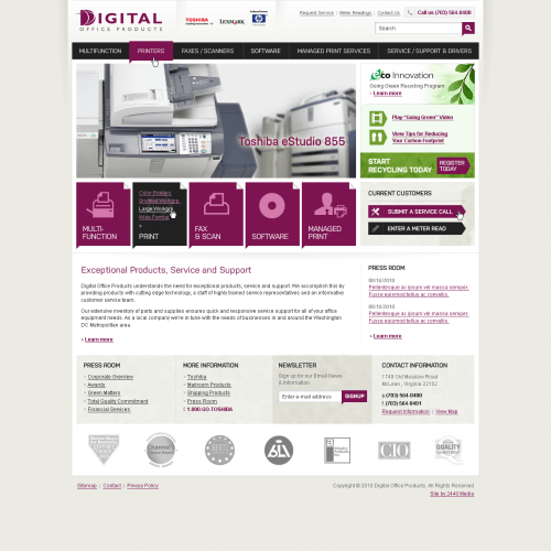 Digital Office Products Web design