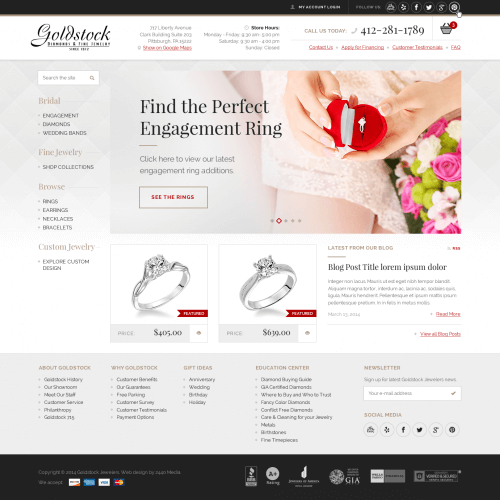 Goldstock Jewelers Pittsburgh Web Design